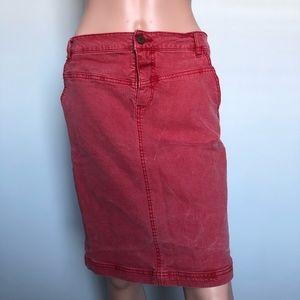 Holding Horses Red Denim Pencil Skirt